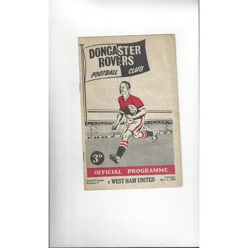 1956/57 Doncaster Rovers v West Ham United Football Programme