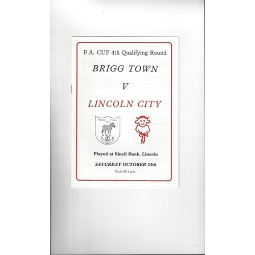 Brigg Town v Lincoln City FA Cup Football Programme 1987/88