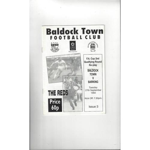 Baldock Town v Barking FA Cup Football Programme 1994/95