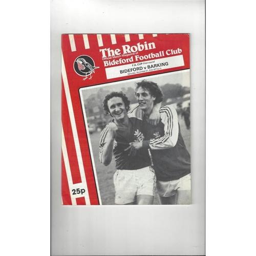 Bideford v Barking FA Cup Football Programme 1981/82