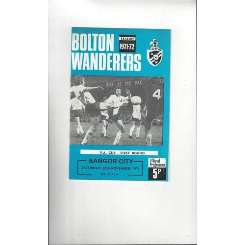 Bolton Wanderers v Bangor City FA Cup Football Programme 1971/72
