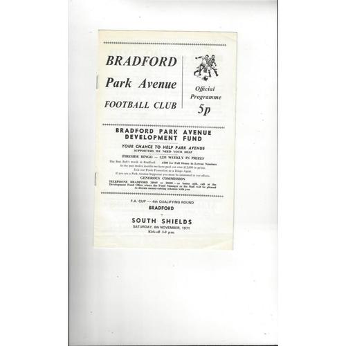 Bradford Park Avenue v South Shields FA Cup Football Programme 1971/72