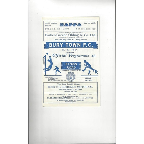 Bury Town v Bournemouth FA Cup Football Programme 1968/69 + Insert
