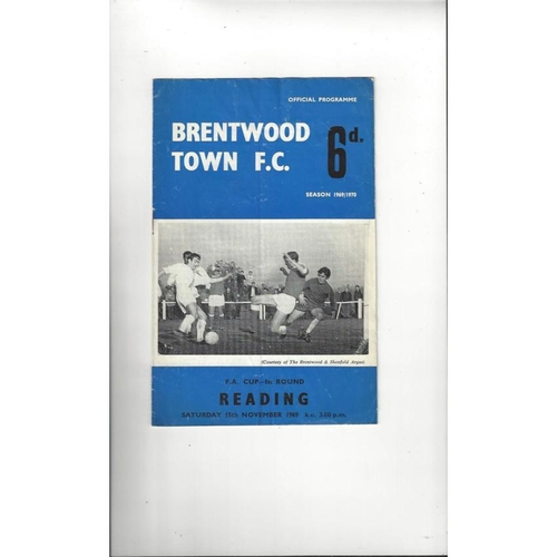 Brentwood Town v Reading FA Cup Football Programme 1969/70