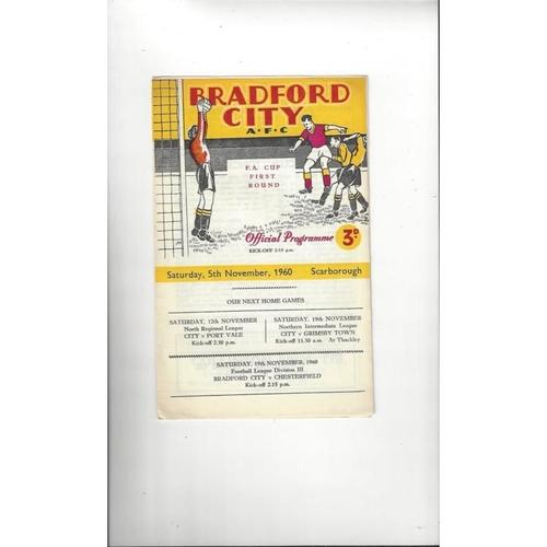 Bradford City v Scarborough FA Cup Football Programme 1960/61