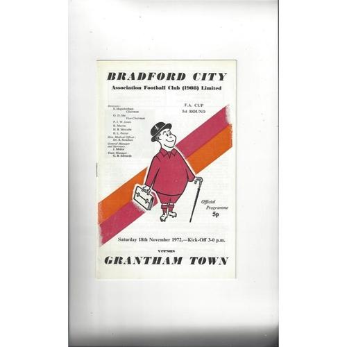 Bradford City v Grantham Town FA Cup Football Programme 1972/73