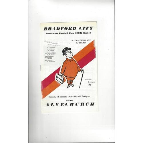 Bradford City v Alvechurch FA Cup Football Programme 1973/74