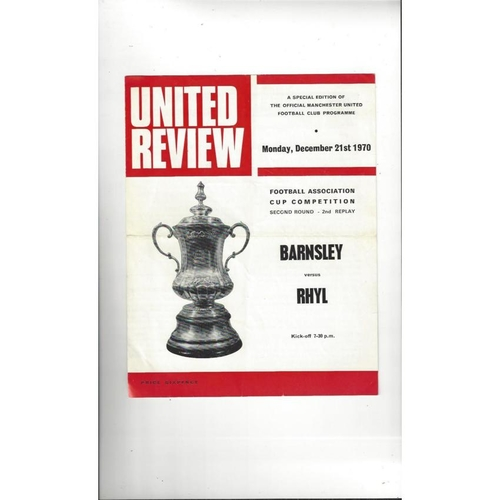 Barnsley v Rhyl FA Cup 2nd Replay Football Programme 1970/71 @ Manchester United
