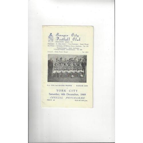 Bangor City v York City FA Cup Football Programme 1969/70