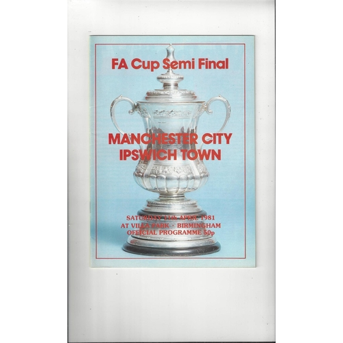 1981 Manchester City v Ipswich Town FA Cup Semi Final Football Programme