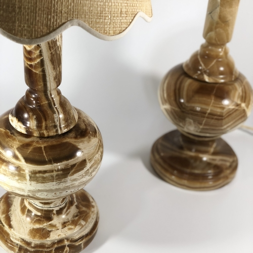 Chic pair of solid onyx stone table lamps