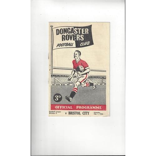 1957/58 Doncaster Rovers v Bristol City Football Programme