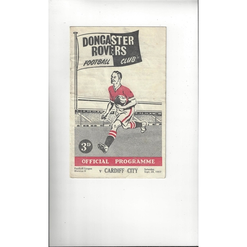 1957/58 Doncaster Rovers v Cardiff City Football Programme
