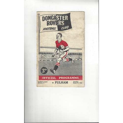 1957/58 Doncaster Rovers v Fulham Football Programme
