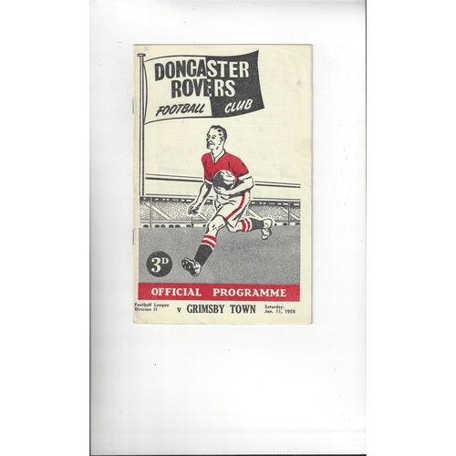 1957/58 Doncaster Rovers v Grimsby Town Football Programme