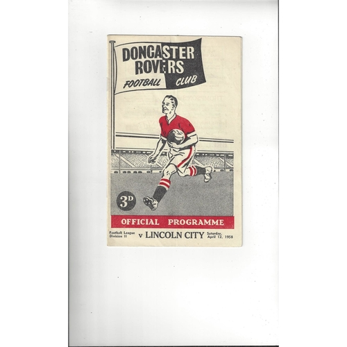1957/58 Doncaster Rovers v Lincoln City Football Programme