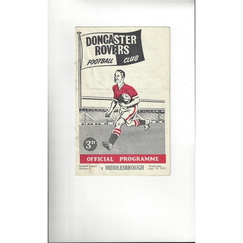1957/58 Doncaster Rovers v Middlesbrough Football Programme