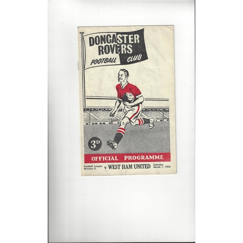 1957/58 Doncaster Rovers v West Ham United Football Programme