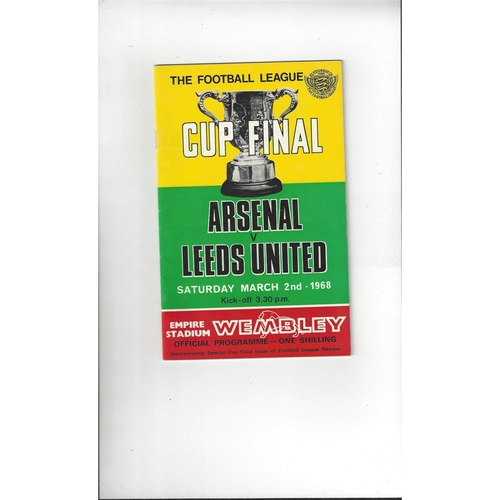 1968 Arsenal v Leeds United League Cup Final Football Programme + League Review