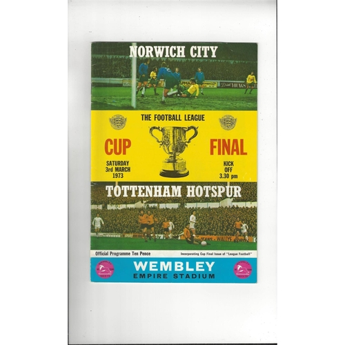 1973 Norwich City v Tottenham Hotspur League Cup Final Football Programme + League Review