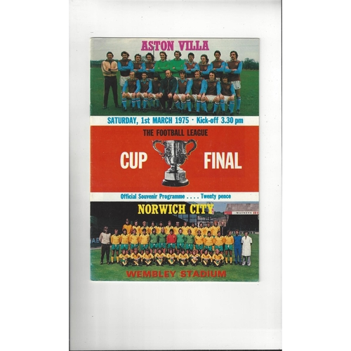1975 Aston Villa v Norwich City League Cup Final Football Programme