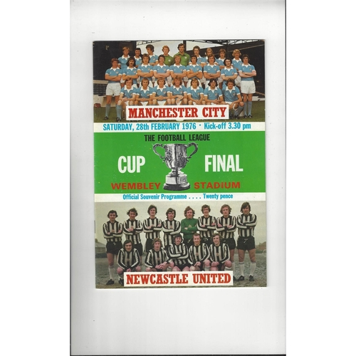 1976 Manchester City v Newcastle United League Cup Final Football Programme