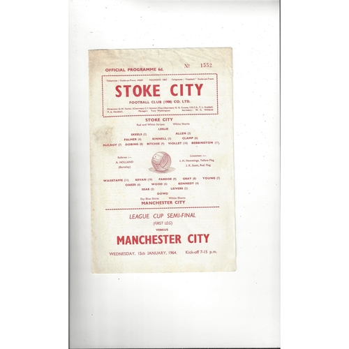 1963/64 Stoke City v Manchester City League Cup Semi Final Football Programme