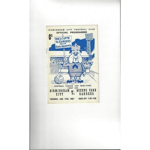 1966/67 Birmingham City v Queens Park Rangers League Cup Semi Final Football Programme