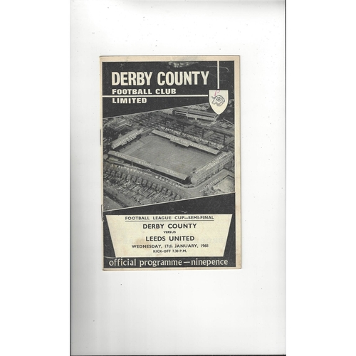 1967/68 Derby County v Leeds United League Cup Semi Final Football Programme