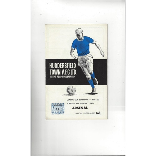 1967/68 Huddersfield Town v Arsenal League Cup Semi Final Football Programme