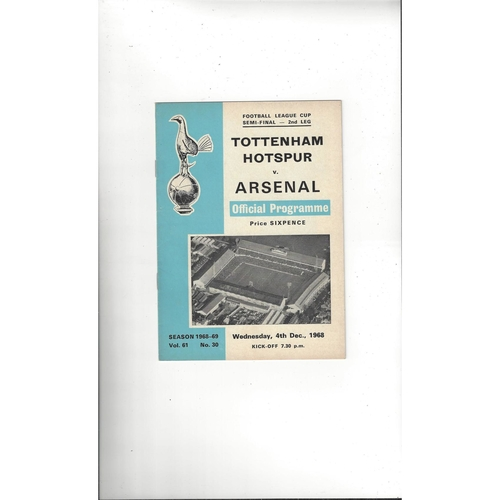 1968/69 Tottenham Hotspur v Arsenal League Cup Semi Final Football Programme