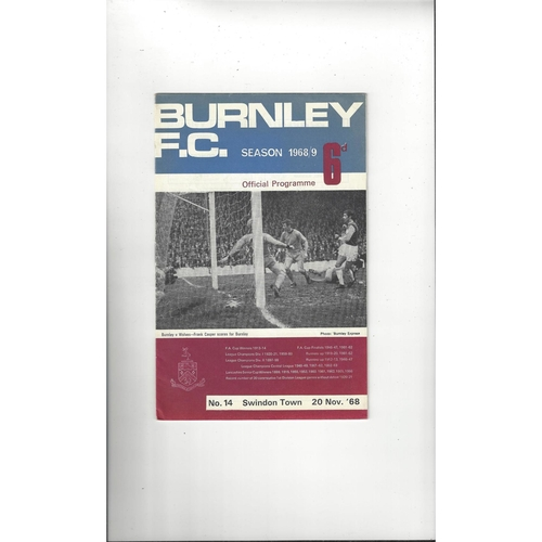 1968/69 Burnley v Swindon Town League Cup Semi Final Football Programme