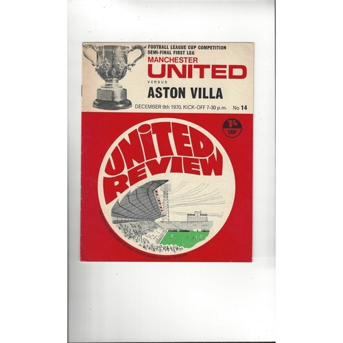 1970/71 Manchester United v Aston Villa League Cup Semi Final Programme