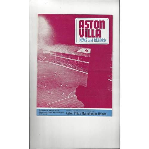 1970/71 Aston Villa v Manchester United League Cup Semi Final Programme