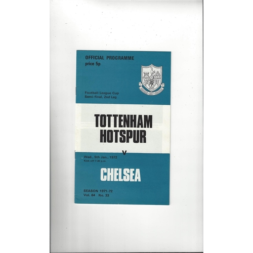 1971/72 Tottenham Hotspur v Chelsea League Cup Semi Final Football Programme