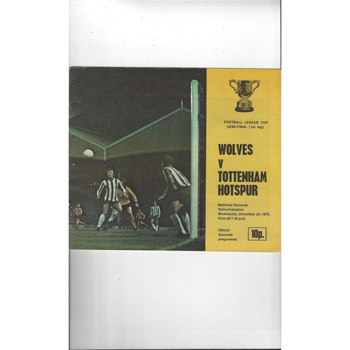 1972/73 Wolves v Tottenham Hotspur League Cup Semi Final Football Programme