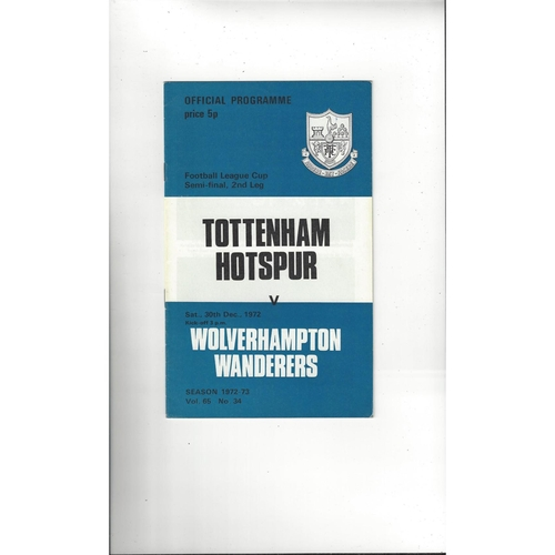 1972/73 Tottenham Hotspur v Wolves League Cup Semi Final Football Programme