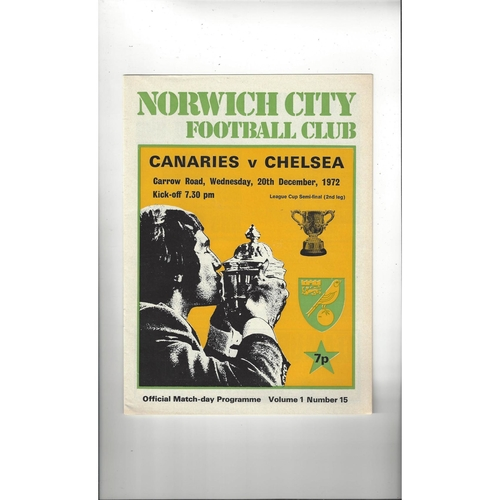 1972/73 Norwich City v Chelsea League Cup Semi Final Football Programme Dec