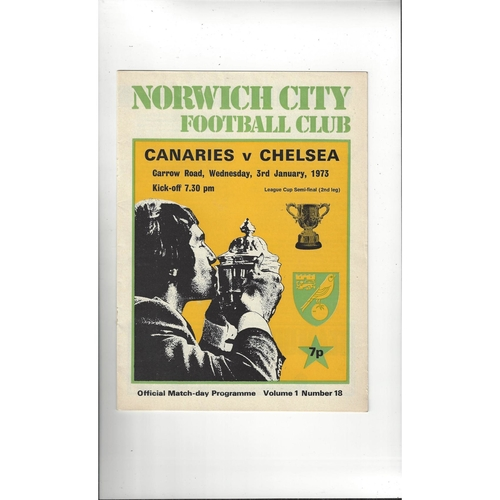 1972/73 Norwich City v Chelsea League Cup Semi Final Football Programme Jan