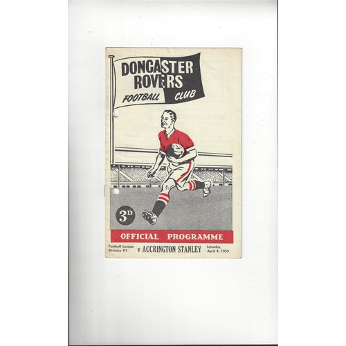 1958/59 Doncaster Rovers v Accrington Stanley Football Programme