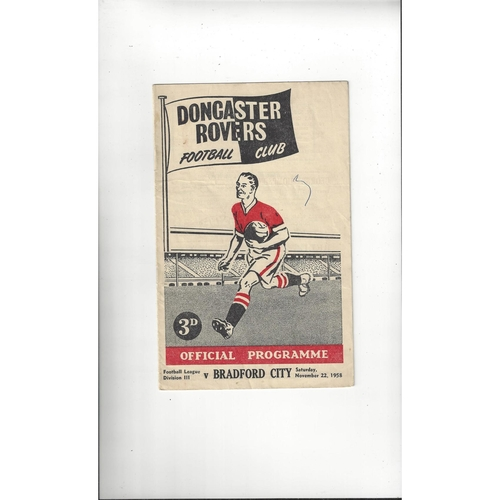 1958/59 Doncaster Rovers v Bradford City Football Programme