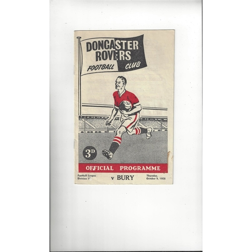 1958/59 Doncaster Rovers v Bury Football Programme