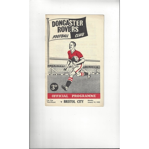 1958/59 Doncaster Rovers v Bristol City FA Cup Football Programme