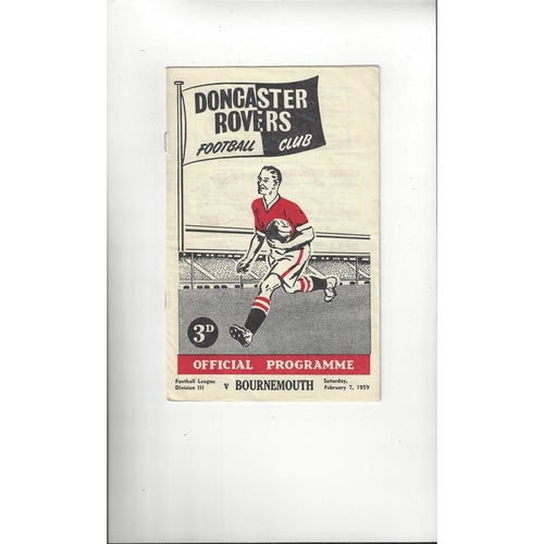1958/59 Doncaster Rovers v Bournemouth Football Programme