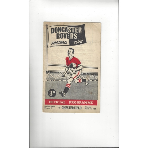 1958/59 Doncaster Rovers v Chesterfield Football Programme