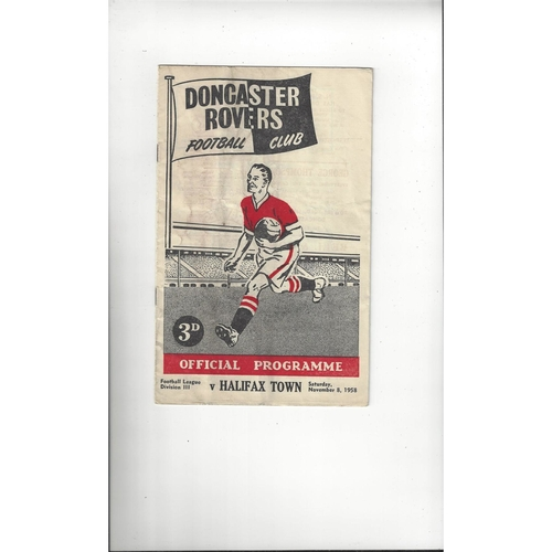 1958/59 Doncaster Rovers v Halifax Town Football Programme