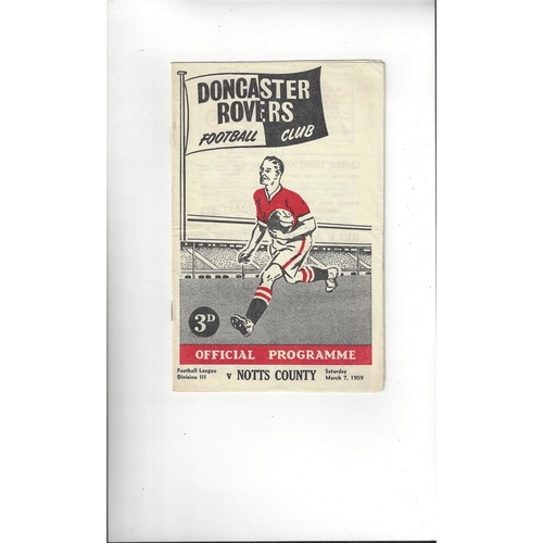 1958/59 Doncaster Rovers v Notts County Football Programme