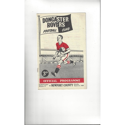 1958/59 Doncaster Rovers v Newport County Football Programme