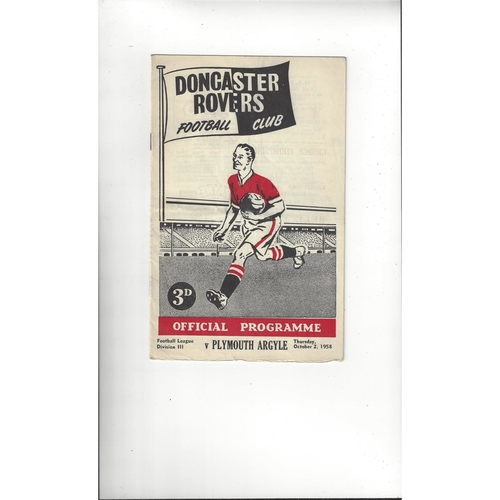1958/59 Doncaster Rovers v Plymouth Argyle Football Programme