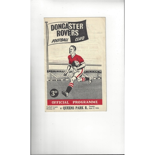 1958/59 Doncaster Rovers v Queens Park Rangers Football Programme